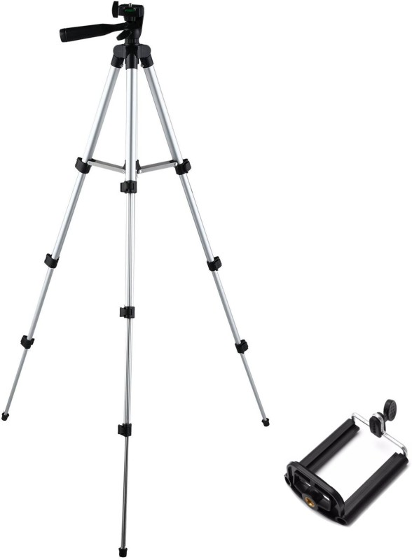 SULFUR Portable Aluminium Lightweight Camera Stand Tripod-3110 With Three-Dimensional Head & Quick Release Plate For Video Cameras and mobile clip holder for Mobiles & Smartphones Tripod(Silver, Black, Supports Up to 1500 g)