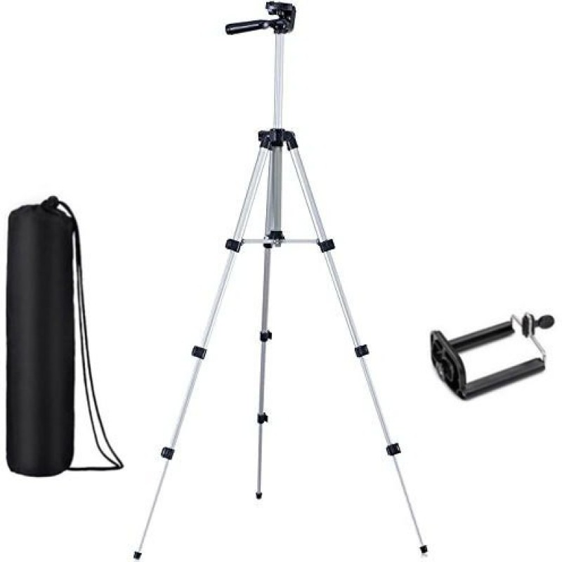 casadomani Tripod-3110 Adjustable Aluminum High Quality Lightweight Camera Stand With Three-Dimensional Head & Quick Release Plate For Video Cameras, Portable Tripod With Mobile Holder Tripod(Silver & Black, Supports Up to 1500)
