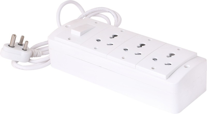 Bahul Spike Buster Fitted with 3 Sockets(15 Amp) And 1 Switch(15 Amp) With 4 Metre Chord With 15 Amp Plug 3  Socket Extension Boards(White)