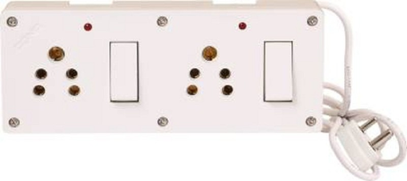 Bahul Spike Buster Fitted with 2 Switches And 2 Sockets With 2 Metre Wire With 5 Amp Plug 2  Socket Extension Boards(White)