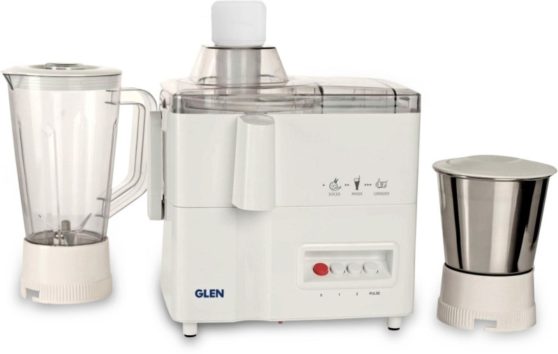 GLEN Mixer Grinder Juicer 4010 500 watt motor 2 Jars 500 Mixer Grinder(White, 2 Jars)