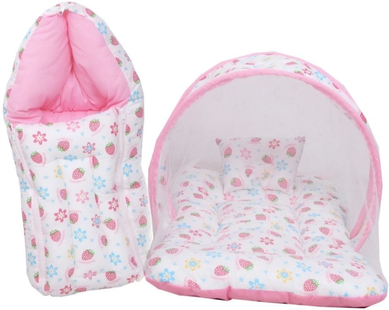 Heny Home New Born Baby Mattress with Mosquito Net & Sleeping Bag Combo Baby Bed Printed(Multicolor)