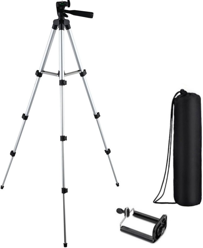 casadomani Tripod-3110 Portable Adjustable Aluminum High Quality Lightweight Camera Stand With Three-Dimensional Head & Quick Release Plate For Video Cameras Foldable Camera Tripod With Mobile Clip Holder Bracket Tripod(Silver & Black, Supports Up to 1500)