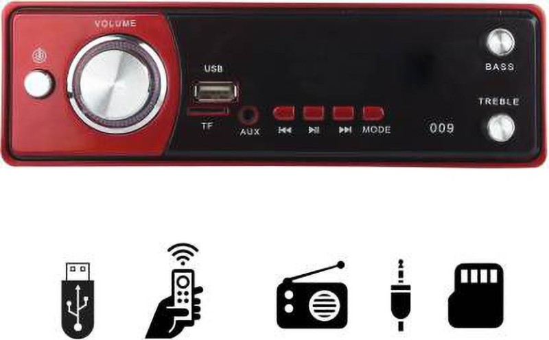 JBRIDERZ Red Single Din USB/FM/AUX/MMC Car Stereo (Single Din) Car Stereo(Single Din)
