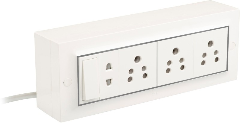 Palfrey Electric Extension Board - 5A + 5A + 5A + 1 Universal Double Pin Socket with Master Switch and Heavy Duty 20 meter Wire (White) 4  Socket Extension Boards(White)