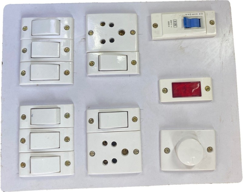 Hiken Wooden Electrical Board 6A (8 Switches, 2 Sockets,1 Indicator,1 Regulator & 1 MCB) 2  Socket Extension Boards(White)