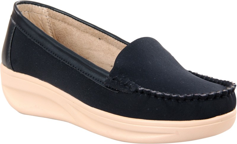 Zappy Stylish Soft Faux Leather Casual Moccasins | Lightweight Thermoplastic Rubber Sole -Fashionable Slip on Loafer | Latest Office & Home Comfortable Wear Loafers For Women(Black)