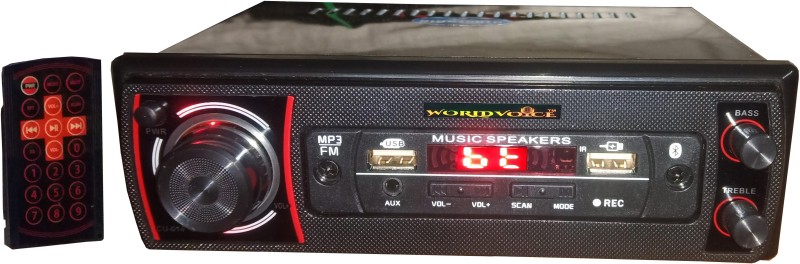 world voice WV-DUALBT Red Color Double USB with Charges Pro FM/ MP3/ USB/ AUX/ BT/ SD-Card (4440 IC) Car Stereo(Single Din)
