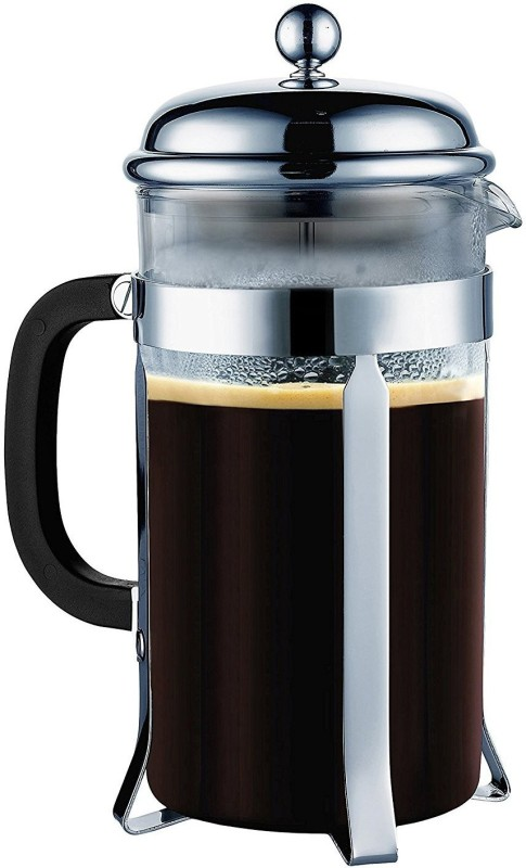TGL Co. French Press 600ml with 3 Part Superior Filter BPA Free Borosilicate Glass Carafe Heat Resistant Handle 6 Cups Coffee Maker(Black)
