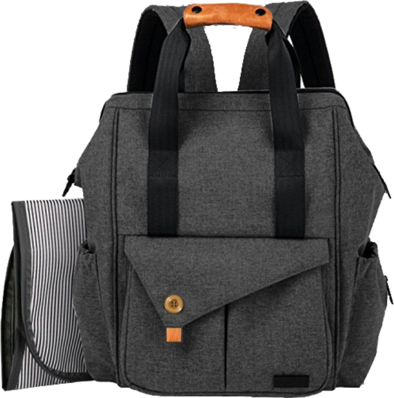 PackNBuy Diaper Backpack Baby Bag with Changing Mat Pad Mother Mom Maternity Travel(Dark Grey)