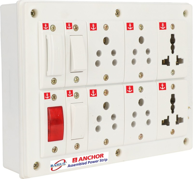 BAHUL ANCHOR BAHUL ANCHOR power strip extension multi outlet board 2 Switches and 6 Socket,1 indicator and 1 fuse 6 Socket Extension Boards (White) 6 Socket Extension Boards (White) 6  Socket Extension Boards(White)