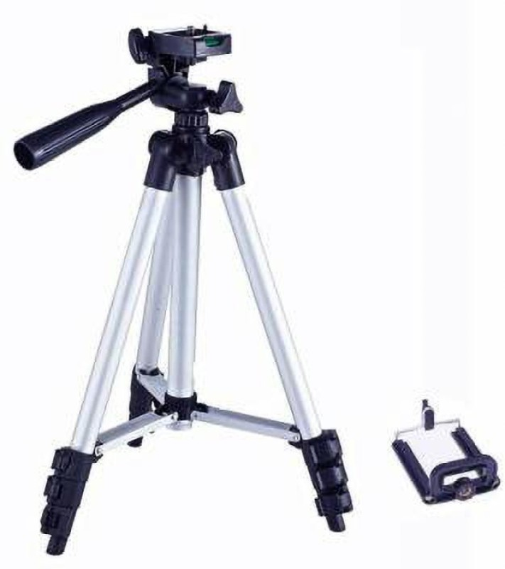 Lehza new arrival and new collection 3110 all types of Camera Tripod Stand Adjustable Aluminum Lightweight With Three-Dimensional Head & Quick Release Plate For Video Cameras and mobile holder and capatable with all types of smartphones for making better videos and photos Tripod Kit(silver and black