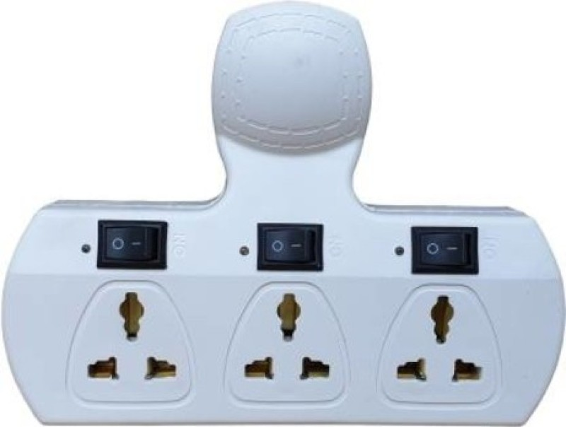 Telsa Electric TE-000TE00107 White 3+3 Without wire Extension Board 3  Socket Extension Boards(White)