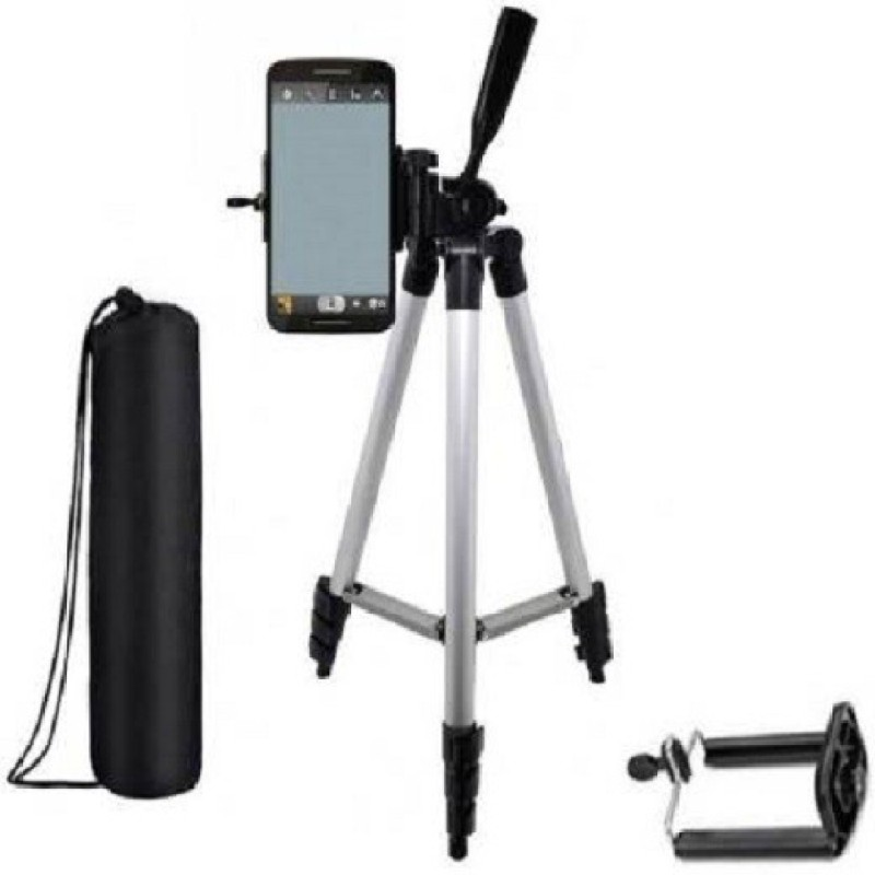 ASHIV Tripod Stand With 3-Way Head Tripod for Digital Camera DV Camcorder, Tripod 3110 with mobile Phone holder mount Tripod Tripod (Silver, Black, Supports Up to 3300 g) Tripod Kit(Multicolor, Supports Up to 3300 g)