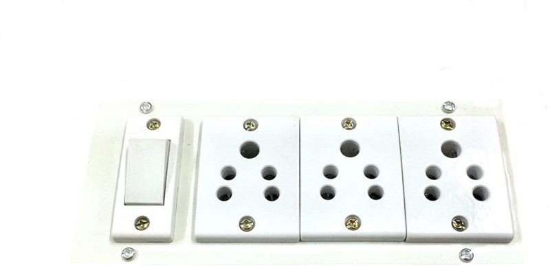 Saifpro Plastic Extension Board with 3 Socket & 1 Switch,Only Board 3  Socket Extension Boards(White)