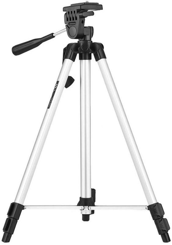 YODNSO Tripod 330A 52 inch Long Dslr/Mobile/Action Camera/Digital3 Way Pan & Tilt Camera Tripod, Tripod Bracket(Silver, Black, Supports Up to 3000 g)