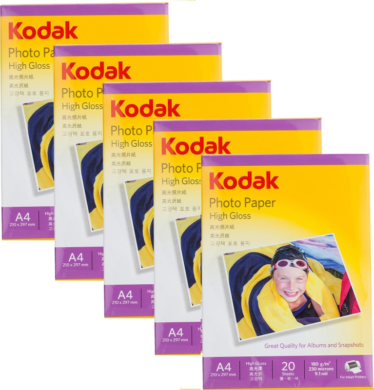 Kodak 180 GSM A4 210x297mm Photo Paper High Glossy - (100 Sheets) Unruled A4 Photo Paper(Set of 5, White)