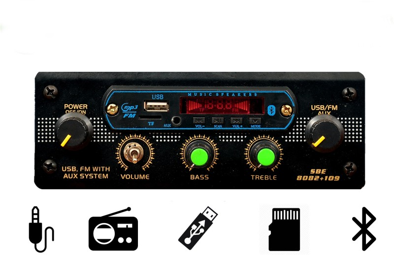 NS east media player FM USB for CAR/BIKE/TEMPO/TRACTOR/AUTO/with bluetooth, Aux, MMC Car Stereo(Single Din)