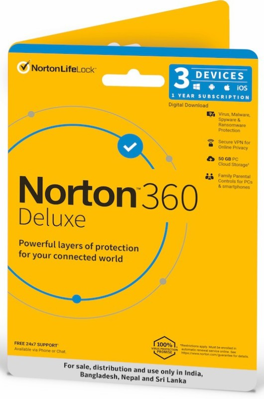 Norton 360 Deluxe 3 PC 1 Year Total Security (Email Delivery - No CD)(Standard Edition)