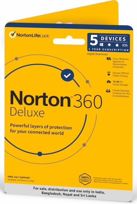 Norton 360 Deluxe 5 PC 1 Year Total Security (Email Delivery - No CD)(Standard Edition)