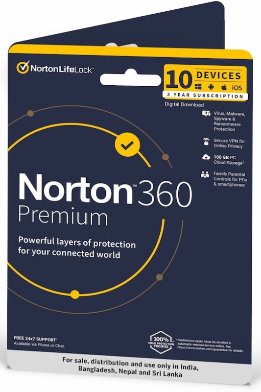 Norton 360 Premium 10 PC 3 Years Total Security (Email Delivery - No CD)(Standard Edition)