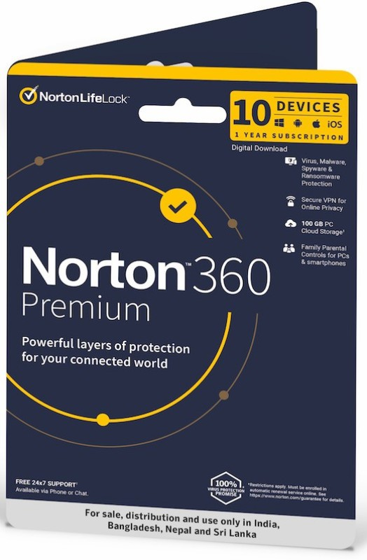 Norton 360 Premium 10 PC 1 Year Total Security (Email Delivery - No CD)(Standard Edition)