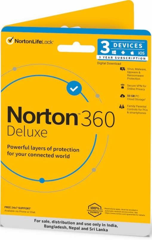 Norton 360 Deluxe 3 PC 3 Years Total Security (Email Delivery - No CD)(Standard Edition)