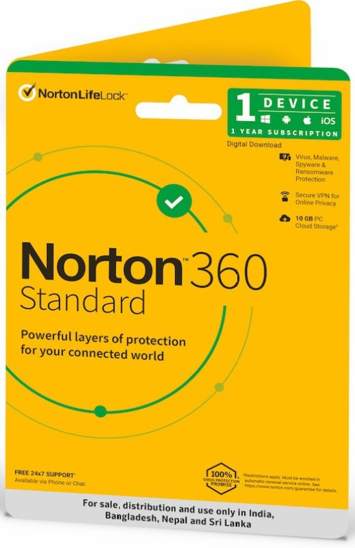 Norton 360 Standard 1 PC 1 Year Total Security (Email Delivery - No CD)(Standard Edition)