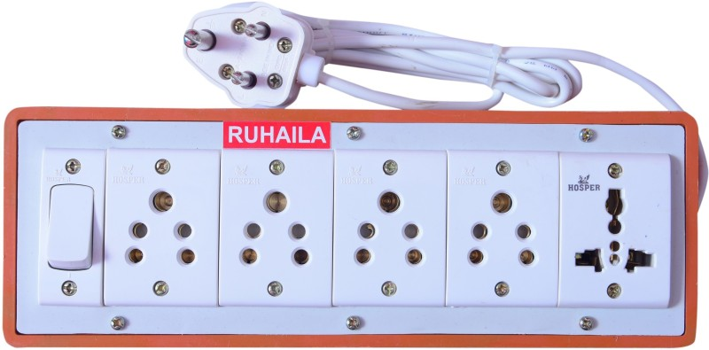 RUHAILA FIVE 5-PIN SOCKET WITH ONE UNIVERSAL SOCKET WITH ONE ON/OFF BUTTON WITH 2 METER WIRE EXTENSION BOX 5  Socket Extension Boards(Multicolor)