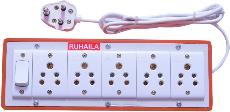 RUHAILA FIVE 5-PIN SOCKET WITH ONE ON/OFF BUTTON WITH 2 METER WIRE EXTENSION BOX 5  Socket Extension Boards(Multicolor)