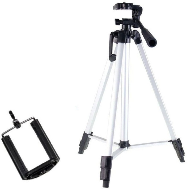 Wanzhow HIGH QUALITY 330A Professional Lightweight Aluminum Portable Tripod Stand 3 Way Head for Digital Camera Supports Tripod Kit(Black, Silver, Supports Up to 1500 g)