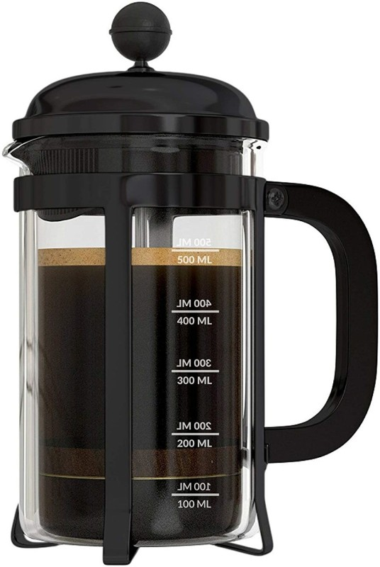 InstaCuppa French Press Coffee Maker with 4 Part Superior Filtration 600 ML, Stainless Steel, (Black) 6 Cups Coffee Maker(Multicolor)