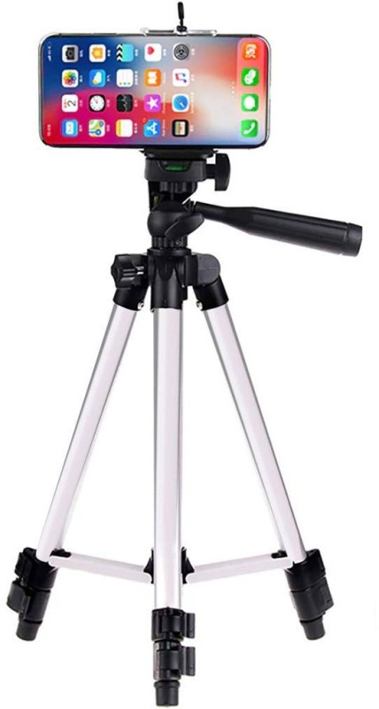 UPROKT Tripod-3110 Mobile Camera Stand With Three-Way Head & Quick Release Plate For Video Cameras and mobile clip holder for Mobiles & Smartphones Tripod(Silver, Black, Supports Up to 1500 g)