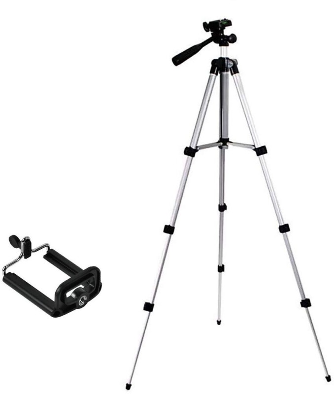 UPROKT 3110 Portable & Foldable Camera - Mobile Tripod With Mobile Clip Holder Bracket Tripod(Silver, Black, Supports Up to 1500 g)