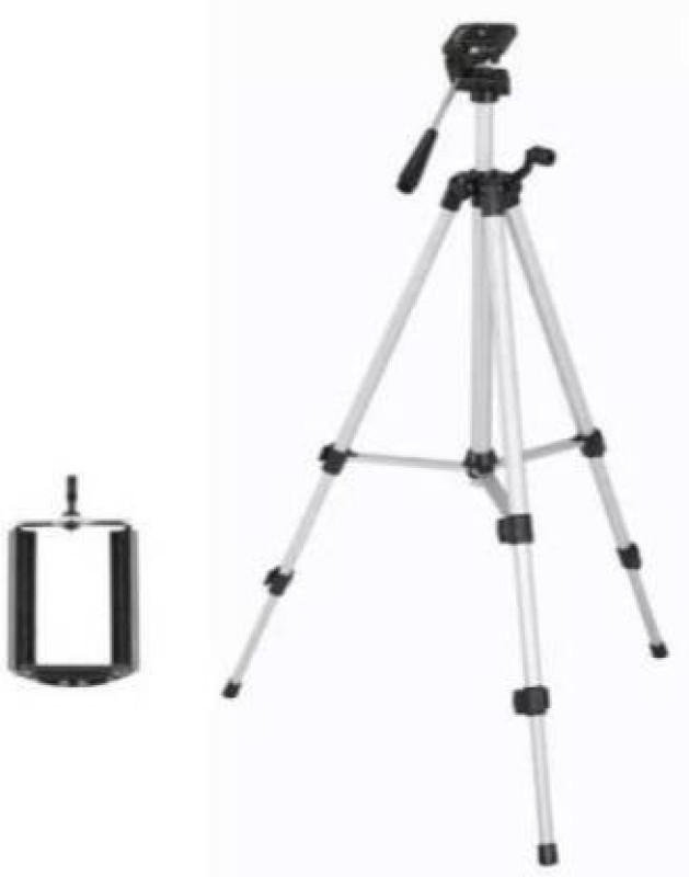 MerePere UNIVERSAL 330A Professional 55inch Tripod Lightweight Aluminum Portable Tripod Stand 3 Way Head for Digital Camera Action Digital Cameras Smartphone Mobile Foldable Tripod 3 WAY PAN HEAD Tripod, Tripod Kit Tripod(Black, Silver, Supports Up to 1500 g)