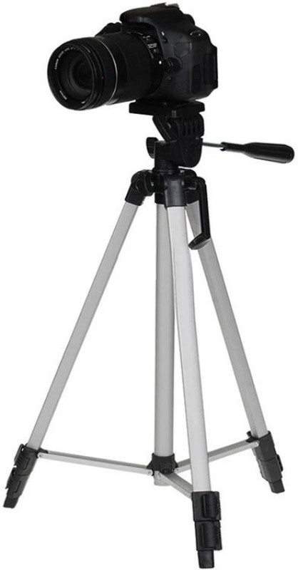 Tabaret 330-A Long Lightweight Aluminum 53-inches Tripod Stand for DSLR Camera Gopro Action Digital Cameras Smartphone Mobile Holder Tripod(Silver, Black, Supports Up to 2000 g)