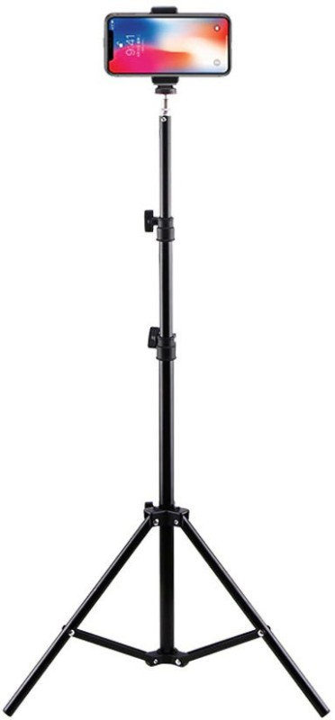 YODNSO Photography Studio Adjustable Max 200CM Light Stand [2 meters]Tripod With 1/4 Screw Head For Camera Photo Softbox Ring Light Lamp Tripod, Tripod Bracket(Black, Supports Up to 2000 g)