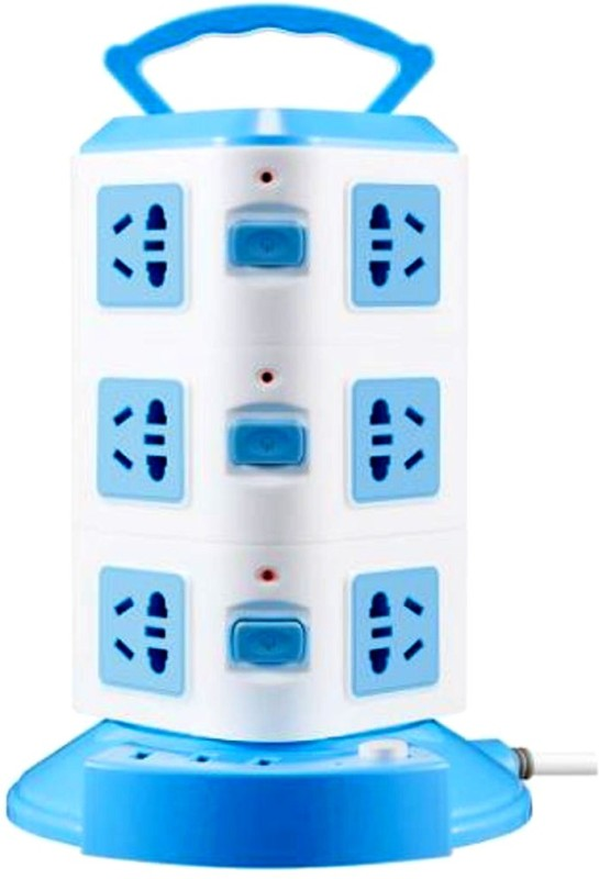 KOMTO Vertical Power Extension Board Tower with Universal Socket 3 USB Ports Plastic Handle 12  Socket Extension Boards(Blue)