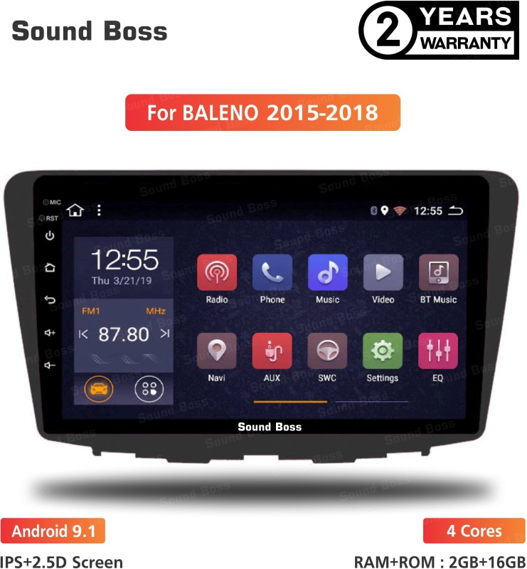 "Sound Boss Androidify 3rd Generation 9"" Inch Android 9.1(1GB/16GB) For Maruti Suzuki Baleno Android Car Stereo (Double Din) Car Stereo(Double Din)"