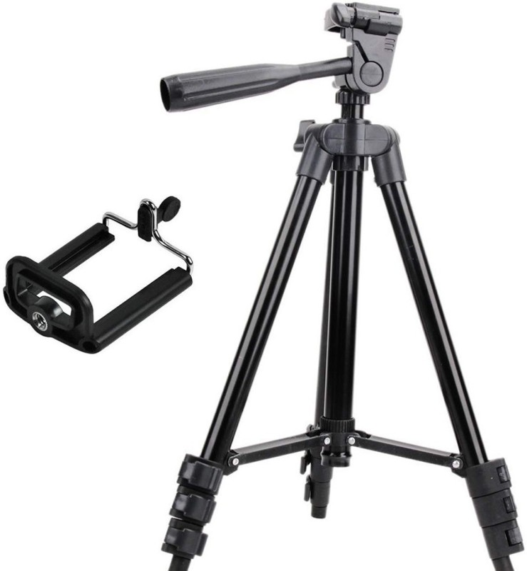 LIFEMUSIC 3120 Aluminum Tripod Universal Lightweight Tripod with Mobile Phone Holder Mount & Carry Bag for All Smart Phones, Cameras Tripod, Tripod Kit(Black, Supports Up to 1500 g)