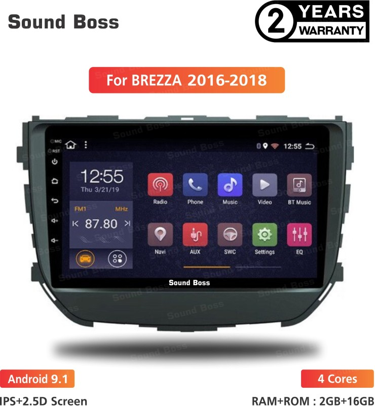 "Sound Boss Androidify 3rd Generation 9"" Inch Android 9.1(1GB/16GB) For Maruti Suzuki Brezza 2016-2018 Android Car Stereo (Double Din) Car Stereo(Double Din)"