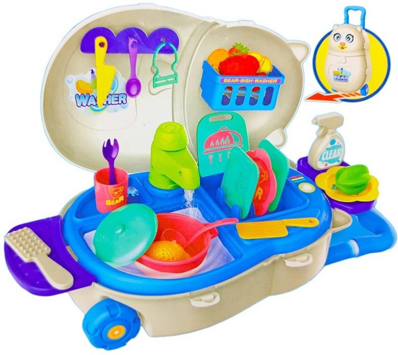 Toy Shack Dish Washer Play set with Trolly, Accessories and Toys for Kids