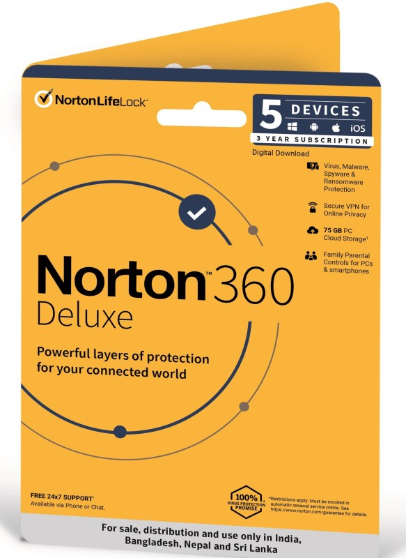 Norton 360 Deluxe 5 PC 3 Years Total Security (Email Delivery - No CD)(Standard Edition)