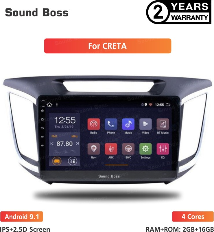 "Sound Boss Androidify 3rd Generation 10"" Inch Android 9.1(1GB/16GB) For Hyundai Creta Android Car Stereo (Double Din) Car Stereo(Double Din)"