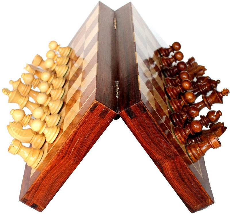 Vjoy Premium Wooden Foldable Hand Made Chess Board Game Set|Game of Brilliance Chess Pieces|Non-Magnetic|12 Inch Board Game Accessories Board Game