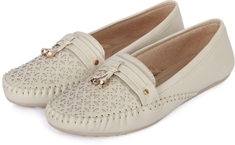 FASHIMO Girl Slip-On Open Back Mocassins Loafers For Women(Off White)