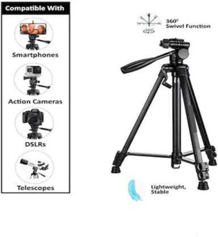 Whelked Portable 3388 Durable Camera Adjustable Aluminum Professional Foldable Tripod Tripod(Black, Supports Up to 1500 g)