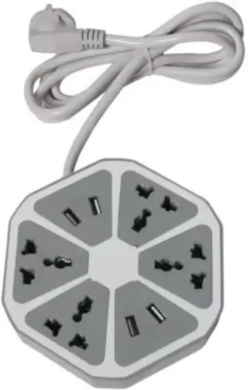 Aarsh Tech Hexagon Socket Extension Cord Board with 4 USB 2.0Amp Charging Point 4 Socket Extension Boards 8  Socket Extension Boards(Grey)