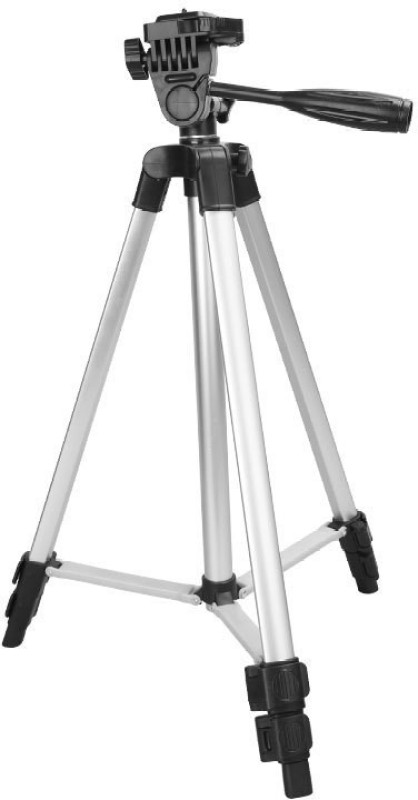 GYZMOFREAKZ Portable Aluminium Lightweight Camera Stand Tripod-3110 With Three-Dimensional Head & Quick Release Plate For Video Cameras and mobile clip holder for Mobiles & Smartphones Tripod(Silver,Black, Supports Up to 1500 g)