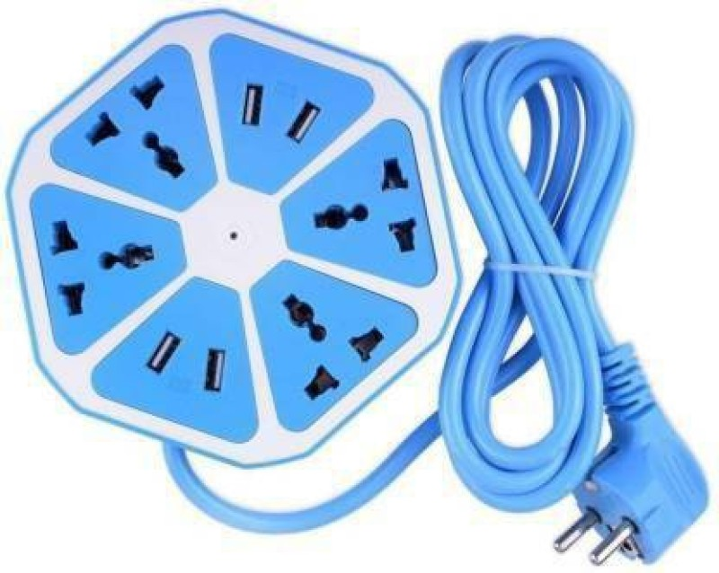 Whelked Hexagon Extension Board USB Socket For Electronic Items 4  Socket Extension Boards(Blue)
